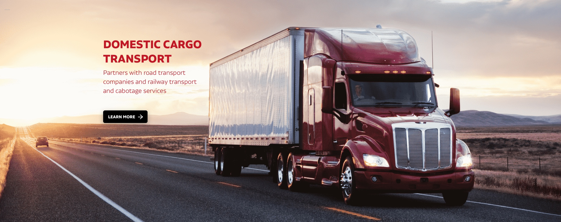 Domestic cargo transport: Partners with road transport companies and railway transport and cabotage services